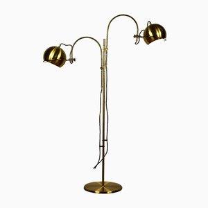 Vintage Messing Stehlampe mit Doppelblech von Gepo, 1970er