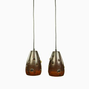 Vintage Copper and Glass Pendant Lamps by Nanny Still for Raak, 1960s, Set of 2