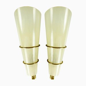 Vintage Brass and Glass Sconces, 1950s, Set of 2