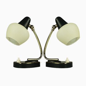 Vintage Brass and Black Table Lamps, 1950s, Set of 2