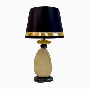 Large French Ceramic Pebble Table Lamp from Francois Chatain, 1980s