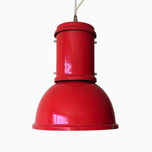 Vintage Industrial Red Pendant Lamp from Candle, 1970s