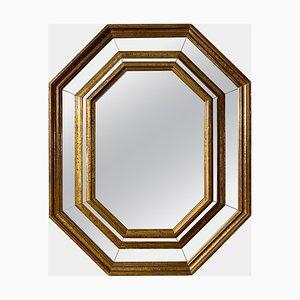 Vintage Octagonal Paneled Brass Framed Mirror by Rodolfo Dubarry
