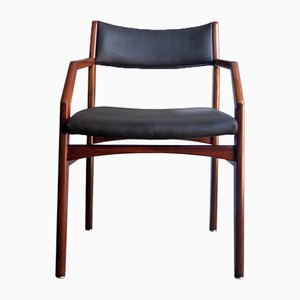 Vintage Wood and Black Leatherette Armchair, 1970s