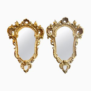 Italian Rococo Style Carved Giltwood Mirrors, 1940s, Set of 2