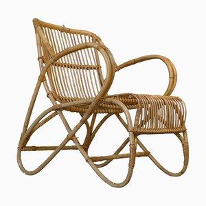 Mid-Century Sessel aus Rattan & Bambus von Rohé Noordwolde, 1950er