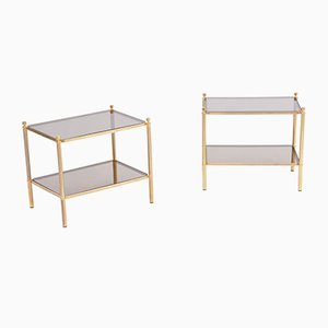 French Gilt Metal and Smoked Glass Side Tables, 1970s, Set of 2