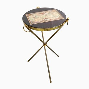 Small Italian Brass and Wood Tripod Side Table, 1950s