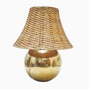 Large Brass and Rattan Table Lamp, 1970s