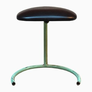 Industrial Italian Black Skai Stool, 1950s