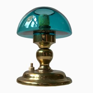 Mid-Century Turquoise Glass and Brass Table Lamp from ABO, 1970s
