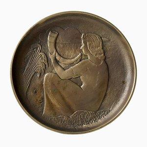 Art Deco Schale aus Bronze von N. Dam Ravn für Nordisk Malm, 1930er