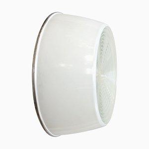 Vintage Industrie Wandlampe in Weiß & Klarglas von Holophane