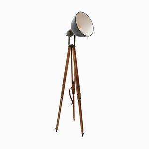 Vintage Industrial Wooden and Gray Enamel Tripod Floor Lamp