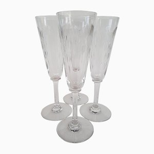 Crystal Model Molière Champagne Flutes from Baccarat, 1920s, Set of 4
