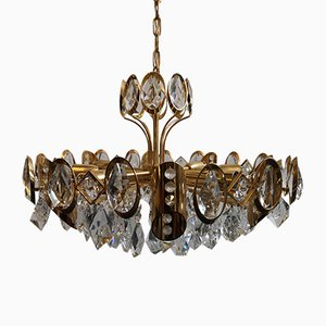 Gold, Gilt Brass & Crystal Chandelier from Palwa, 1970s