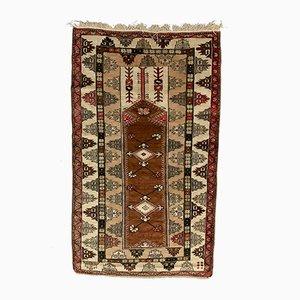 Vintage Turkish Milas Ushak Handmade Beige Rug, 1960s