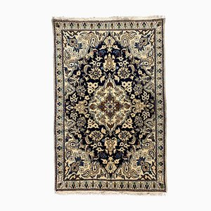 Small Vintage Hand-Knotted Oriental Blue and Beige Wool Nain Rug, 1970s