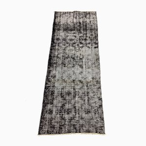 Vintage Turkish Distressed Overdyed Black Wool Runner Rug