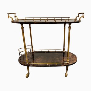 Italian Lacquered Goatskin or Parchment Serving Bar Cart by Aldo Tura, 1960s