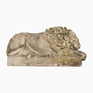 Mid-Century Stone Lion Sculptures, 1940s, Set of 2