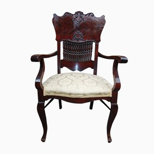 19th Century Art Nouveau Carved Veneered Armchair