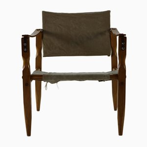 Danish Safari Chair with Wooden Armrests, 1960s
