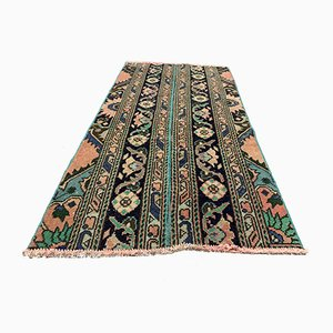 Small Vintage Turkish Distressed Green & Brown Runner Rug, 1960s