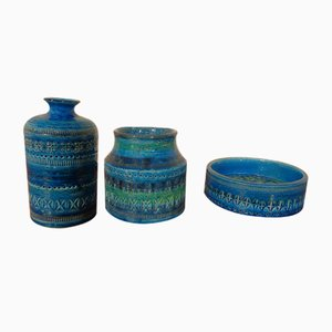 Rimini Blue Ceramic Vases & Bowl by Aldo Londi for Bitossi, Set of 3, 1960s