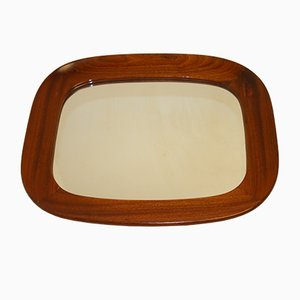 Vintage Wide Wooden Frame Mirror, 1966
