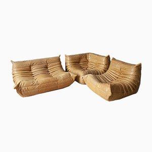 Poltrona angolare Togo in pelle marrone, poltrona e divano a due posti di Michel Ducaroy per Ligne Roset, anni '70