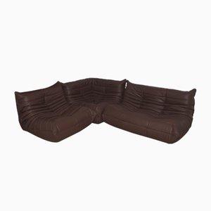 Juego de sofá cama y butaca de dos plazas Togo madras de cuero marrón de Michel Ducaroy para Ligne Roset, años 70