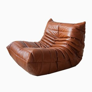 Whiskey Brown Leather Togo Corner Armchair, Armchair, and 2-Seater Sofa Set by Michel Ducaroy for Ligne Roset, 1970s