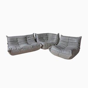 Grauer Togo Ledersessel mit Lederbezug, 2-Sitzer Sofa Set von Michel Ducaroy für Ligne Roset, 1970er