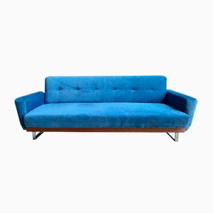 Scandinavian Blue Velvet 3-Seater Sofa, 1960s