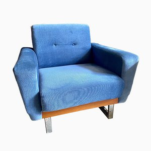 Vintage Scandinavian Blue Lounge Chairs, 1960s, Set of 2