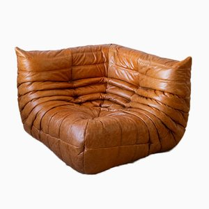 Dubai Pine Leather Togo Corner Armchair, Armchair, and 2-Seater Sofa Set by Michel Ducaroy for Ligne Roset, 1970s