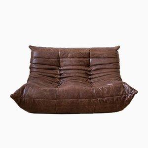 Sofá esquinero Togo Dubai de cuero marrón, butaca y sofá de dos plazas de Michel Ducaroy para Ligne Roset, años 70