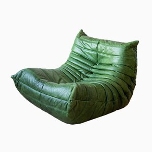 Dubai Togo Ecksessel, Sessel & 2-Sitzer Sofa Set aus braunem Leder von Michel Ducaroy für Ligne Roset, 1970er