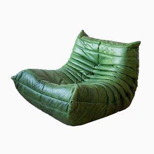 Poltrona ad angolo, poltrona e divano a due posti Togo in pelle marrone di Michel Ducaroy per Ligne Roset, anni '70