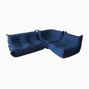 Marineblauer Togo Eckstuhl aus Mikrofaser, Sessel und 2-Sitzer Sofa Set von Michel Ducaroy für Ligne Roset, 1970er
