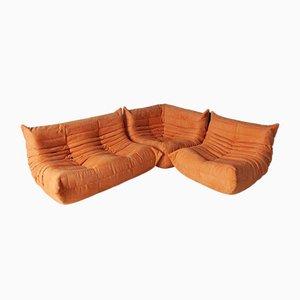 Orangefarbener Microfaser Togo Ecksessel, Sessel und 2-Sitzer Sofa Set von Michel Ducaroy für Ligne Roset, 1970er