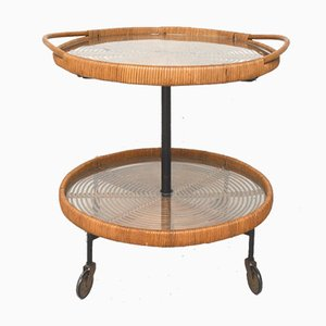 Rattan Coffee Table on Wheels with Glass Tops, 1960s
