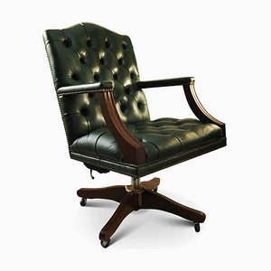 Green Button Back Leather and Mahogany Swivel Captains Desk Armchair, 1970s