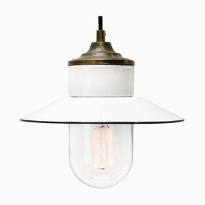 Vintage Industrial White Enamel, Porcelain, and Brass Pendant Lamp