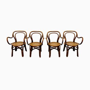 Bentwood and Rattan Dining Chairs, 1960s, Set of 4
