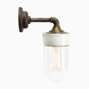 Vintage Industrial Porcelain, Brass, and Clear Glass Sconce