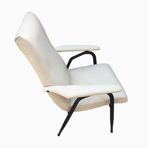White Leatherette Lounge Chair, 1960s