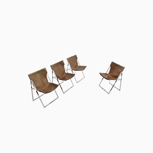 Italian Folding Dining Chairs by Marcello Cuneo, 1970s, Set of 4