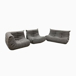 Gray Fabric Togo Armchairs and 2-Seater Sofa Set by Michel Ducaroy for Ligne Roset, 1970s